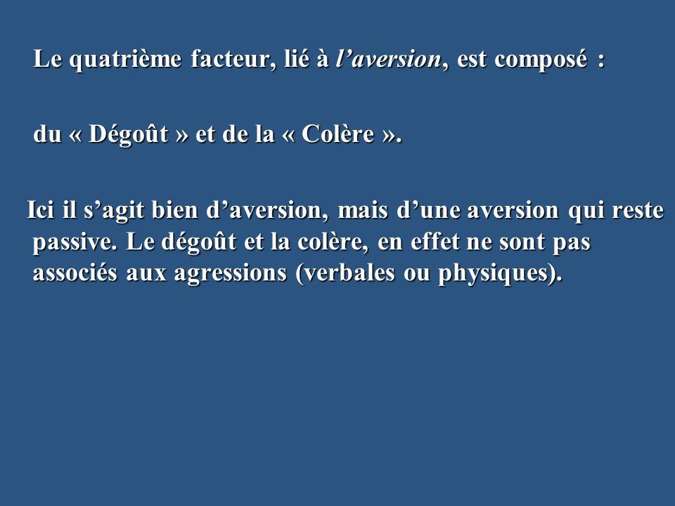 Le quatrième facteur, lié à laversion, est composé : Le quatrième facteur, lié à laversion, est composé : du « Dégoût » et de la « Colère ». du « Dégo