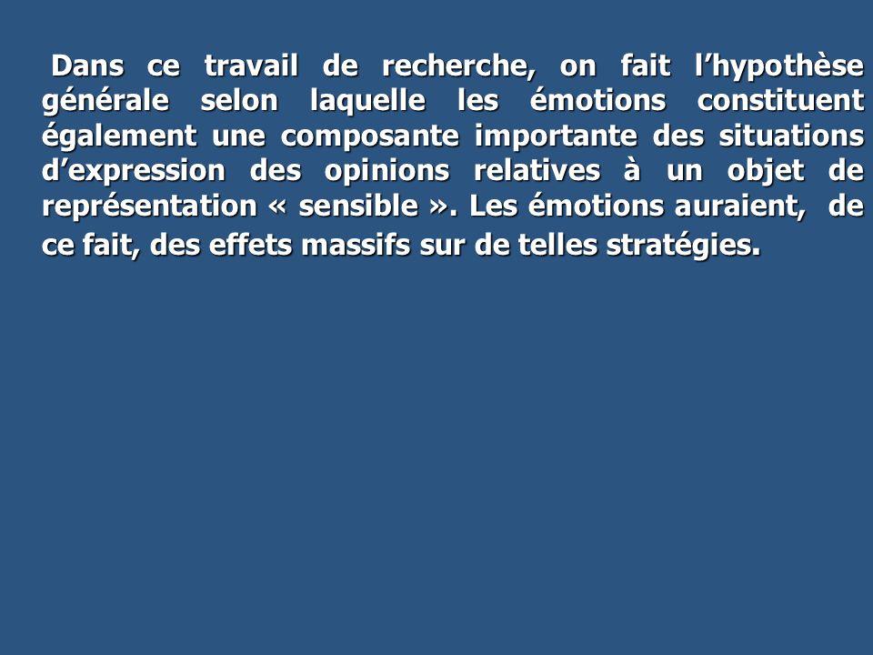 Dans ce travail de recherche, on fait lhypothèse générale selon laquelle les émotions constituent également une composante importante des situations d
