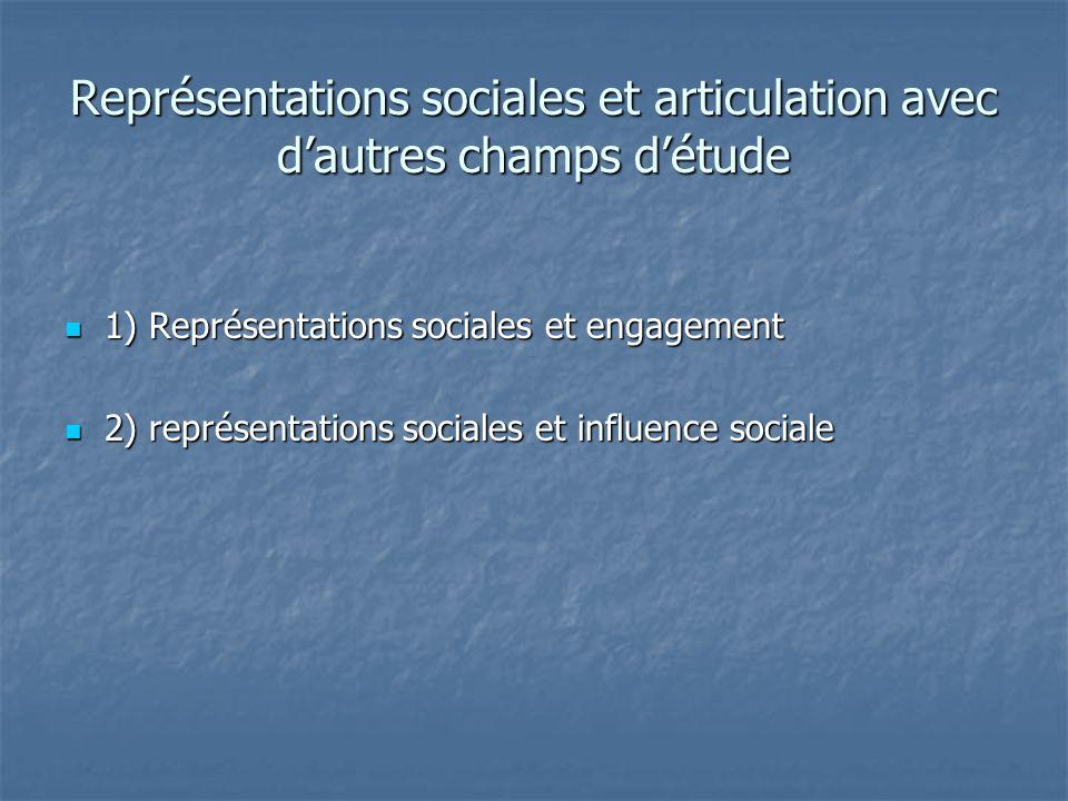 Représentations sociales et articulation avec dautres champs détude 1) Représentations sociales et engagement 1) Représentations sociales et engagemen