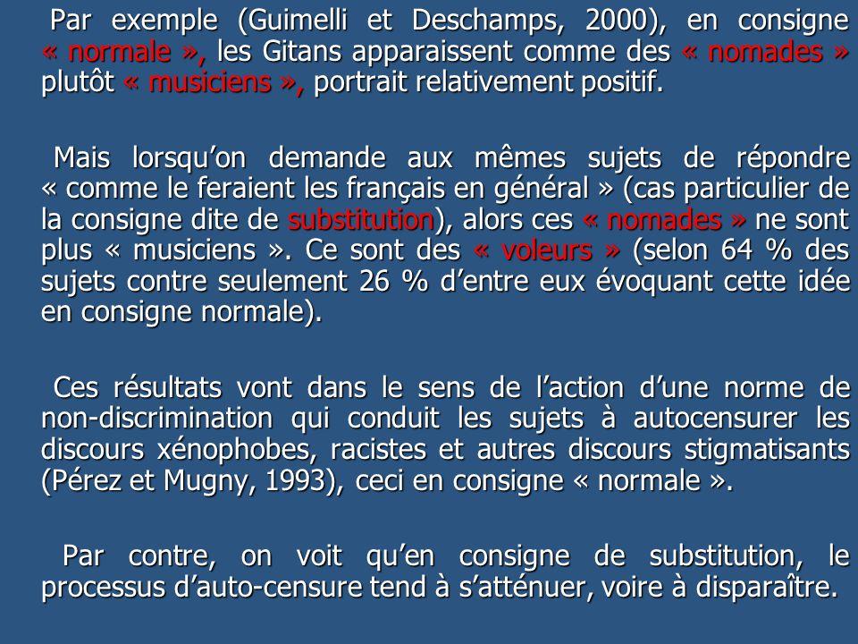 Par exemple (Guimelli et Deschamps, 2000), en consigne « normale », les Gitans apparaissent comme des « nomades » plutôt « musiciens », portrait relat