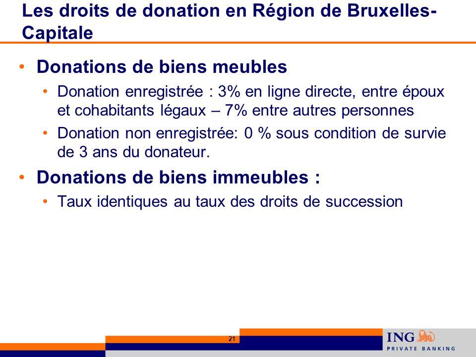 21 Les droits de donation en Région de Bruxelles- Capitale Donations de biens meubles Donation enregistrée : 3% en ligne directe, entre époux et cohabitants légaux – 7% entre autres personnes Donation non enregistrée: 0 % sous condition de survie de 3 ans du donateur.