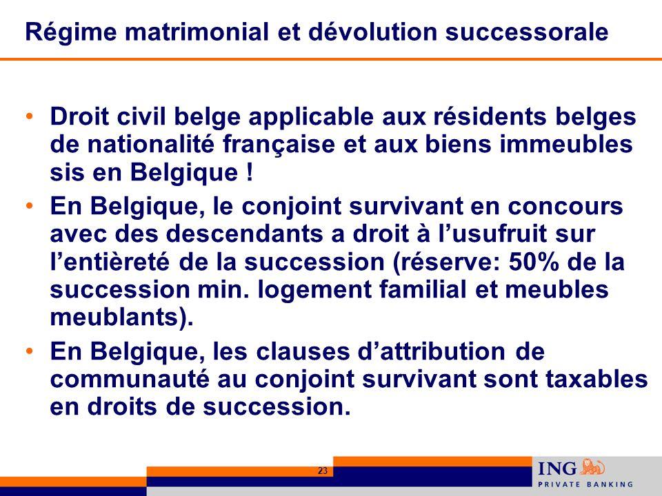 23 Régime matrimonial et dévolution successorale Droit civil belge applicable aux résidents belges de nationalité française et aux biens immeubles sis en Belgique .