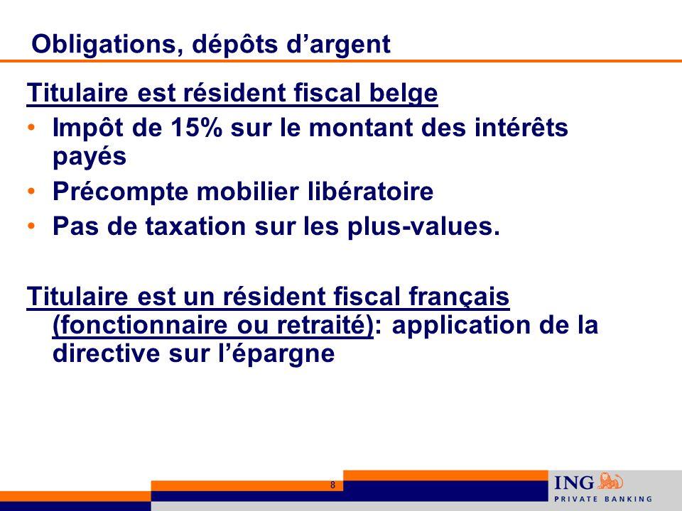 8 Obligations, dépôts dargent Titulaire est résident fiscal belge Impôt de 15% sur le montant des intérêts payés Précompte mobilier libératoire Pas de taxation sur les plus-values.