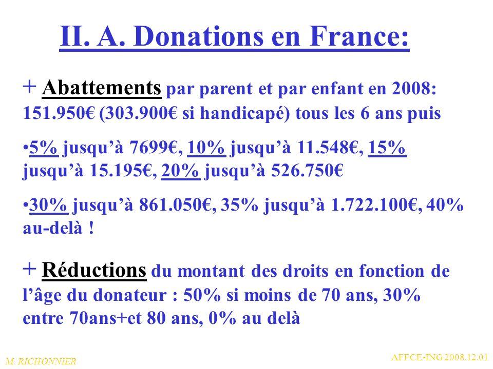M. RICHONNIER AFFCE-ING 2008.12.01 II. Donations, Successions en France: Très intéressant depuis 2008