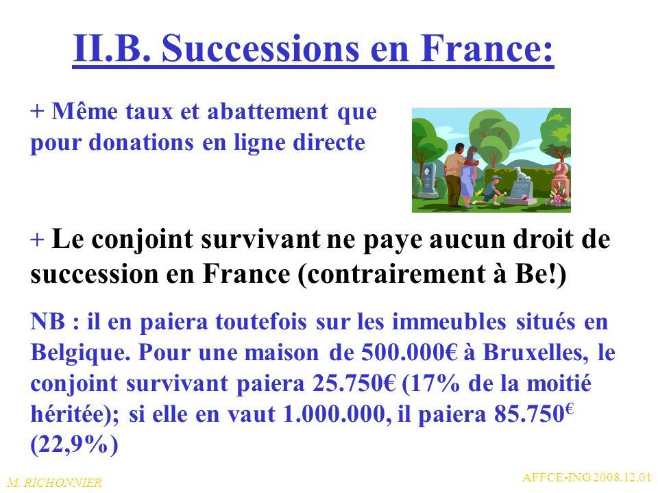 M. RICHONNIER AFFCE-ING 2008.12.01 II.A. Donations en France: + Entre frères et sœurs, labattement nest que de 15.195 puis taux de 35% jusquà 23.299 e