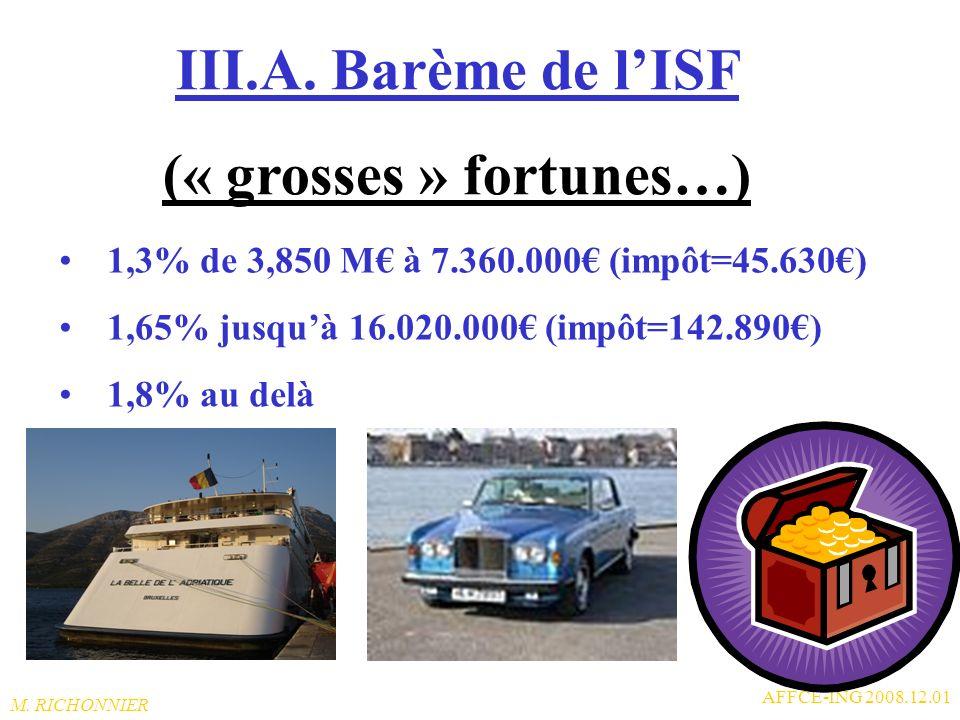 M. RICHONNIER AFFCE-ING 2008.12.01 III.A. Barème de lISF (« petites et moyennes » fortunes) 0% si moins de 770.000 (impôt = 0= pas de déclaration) 0,5