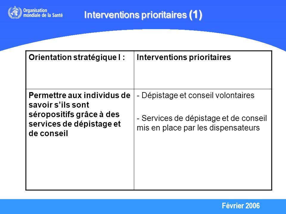 Février 2006 Interventions prioritaires (1) Orientation stratégique I :Interventions prioritaires Permettre aux individus de savoir sils sont séropositifs grâce à des services de dépistage et de conseil - Dépistage et conseil volontaires - Services de dépistage et de conseil mis en place par les dispensateurs