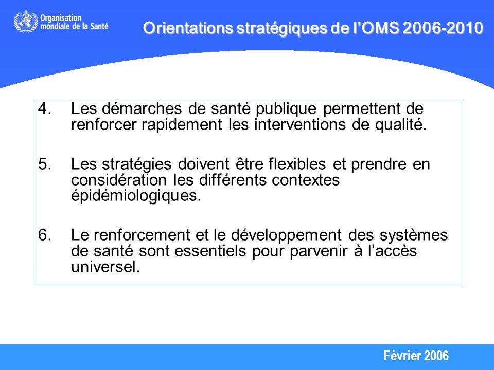 Février 2006 1.Permettre aux individus de savoir sils sont séropositifs grâce à des services de dépistage et de conseil 2.Accélérer le développement du traitement et des soins 3.Associer le plus possible le secteur de la santé à la prévention du VIH 4.Investir dans le domaine des informations stratégiques afin de donner des orientations pour une riposte plus efficace 5.Prendre sans tarder des mesures pour renforcer et développer les systèmes de santé Orientations stratégiques de lOMS 2006-2010