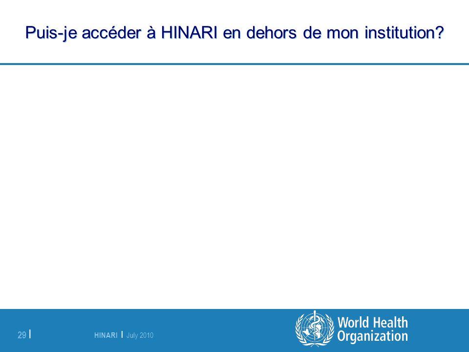 HINARI | July 2010 29 | Puis-je accéder à HINARI en dehors de mon institution?