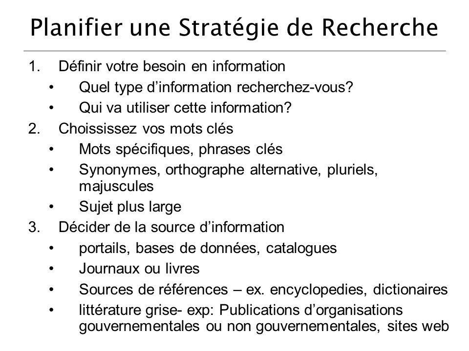 Planifier une Stratégie de Recherche 1.Définir votre besoin en information Quel type dinformation recherchez-vous? Qui va utiliser cette information?