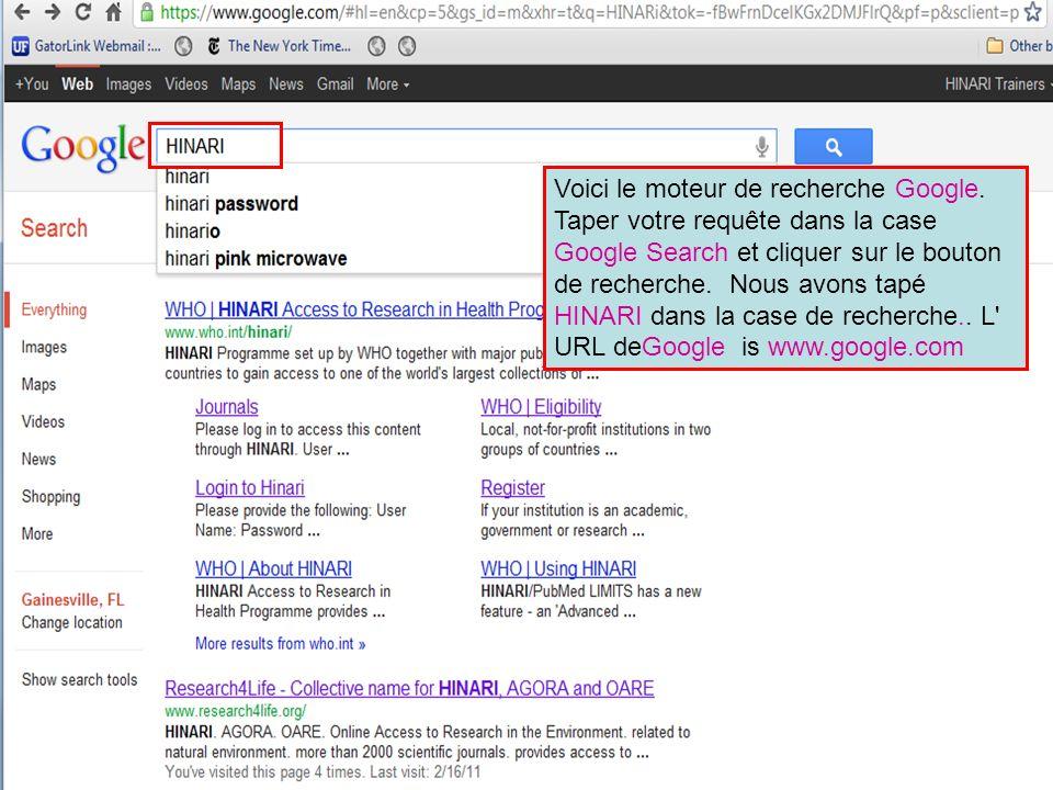 The Google search engine Voici le moteur de recherche Google. Saisir vos termes de recherche dans la boite de recherche Google puis cliquer sur le bou