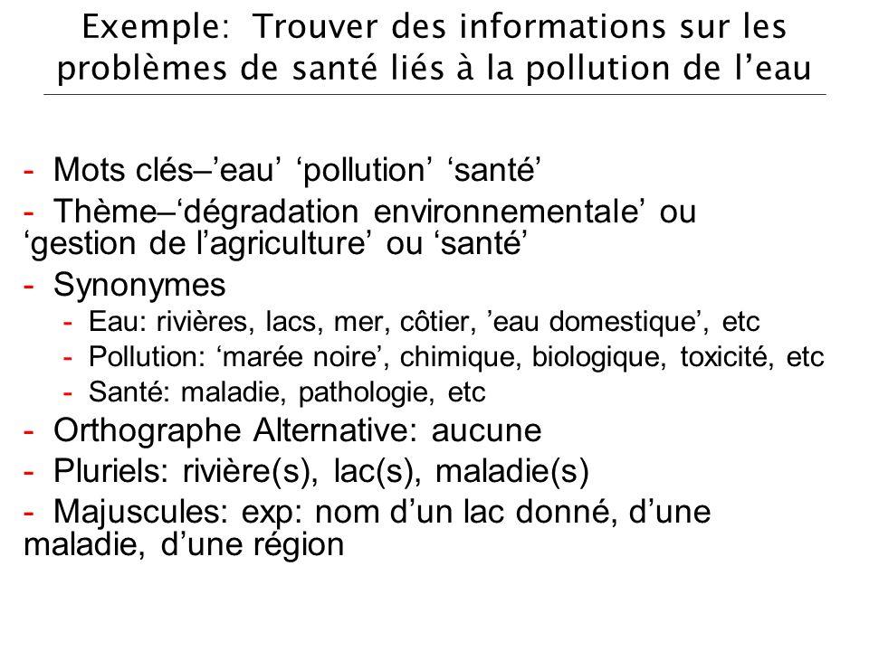 Exemple: Trouver des informations sur les problèmes de santé liés à la pollution de leau - Mots clés–eau pollution santé - Thème–dégradation environne