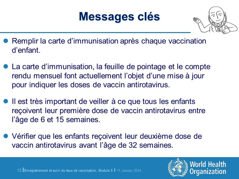 Enregistrement et suivi du taux de vaccination, Module 5 | 11 January 2014 13 | Messages clés Remplir la carte dimmunisation après chaque vaccination denfant.