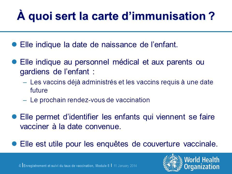 Enregistrement et suivi du taux de vaccination, Module 5 | 11 January 2014 4 |4 | À quoi sert la carte dimmunisation .