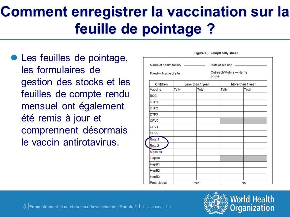Enregistrement et suivi du taux de vaccination, Module 5 | 11 January 2014 8 |8 | Comment enregistrer la vaccination sur la feuille de pointage .