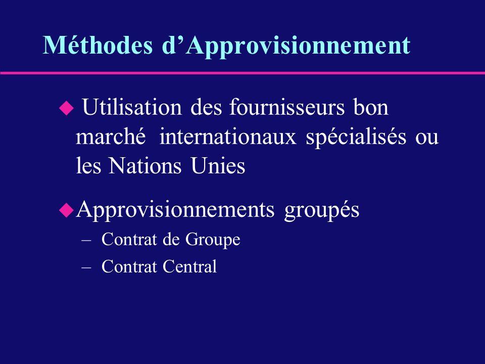 u Utilisation des fournisseurs bon marché internationaux spécialisés ou les Nations Unies u Approvisionnements groupés – Contrat de Groupe – Contrat C