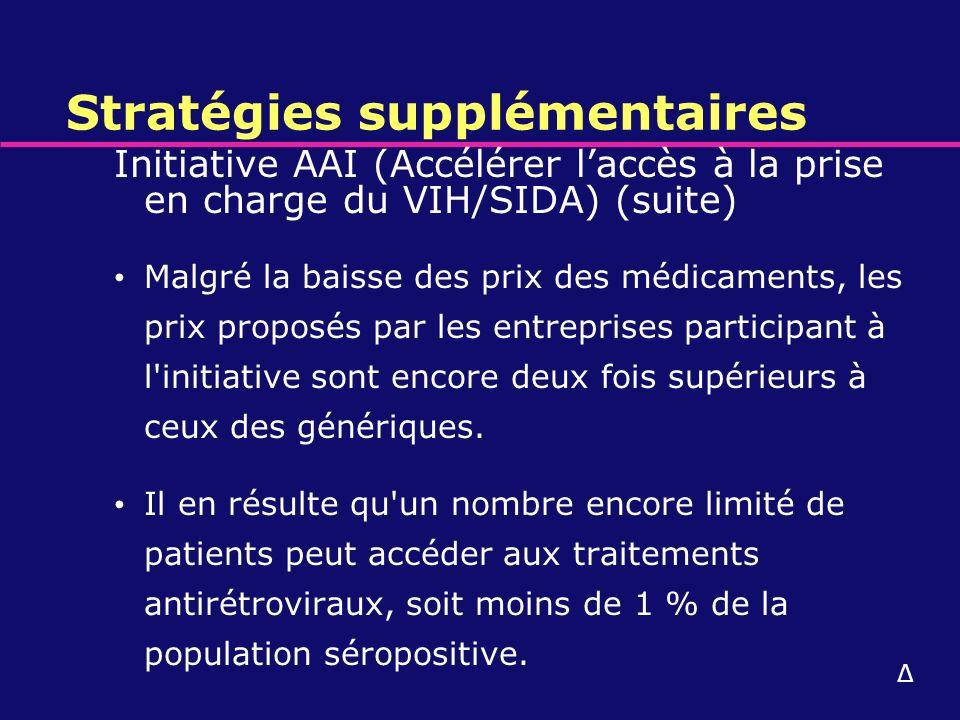 Stratégies supplémentaires Initiative AAI (Accélérer laccès à la prise en charge du VIH/SIDA) (suite) Malgré la baisse des prix des médicaments, les p