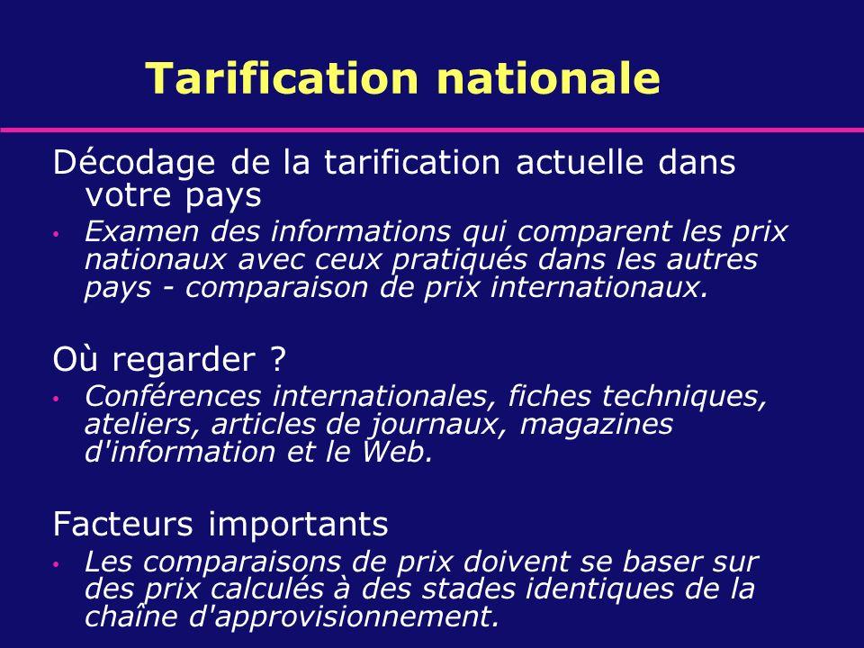 Tarification nationale Décodage de la tarification actuelle dans votre pays Examen des informations qui comparent les prix nationaux avec ceux pratiqu