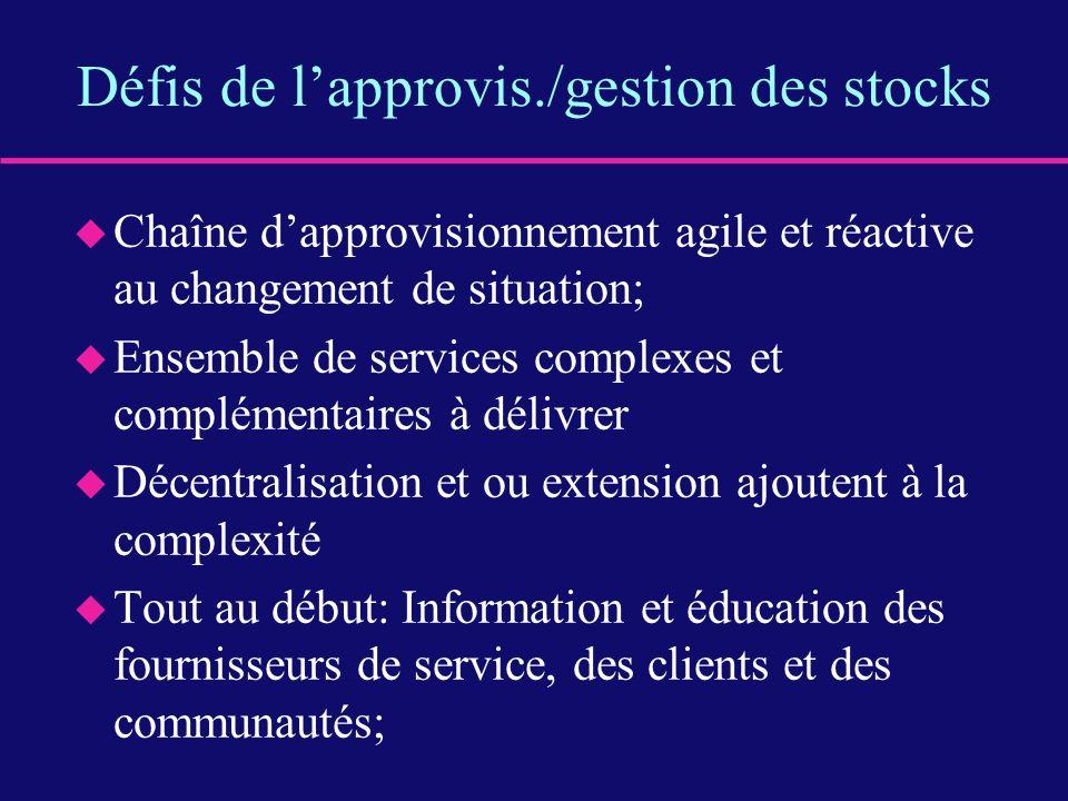 Défis de lapprovis./gestion des stocks u Chaîne dapprovisionnement agile et réactive au changement de situation; u Ensemble de services complexes et c