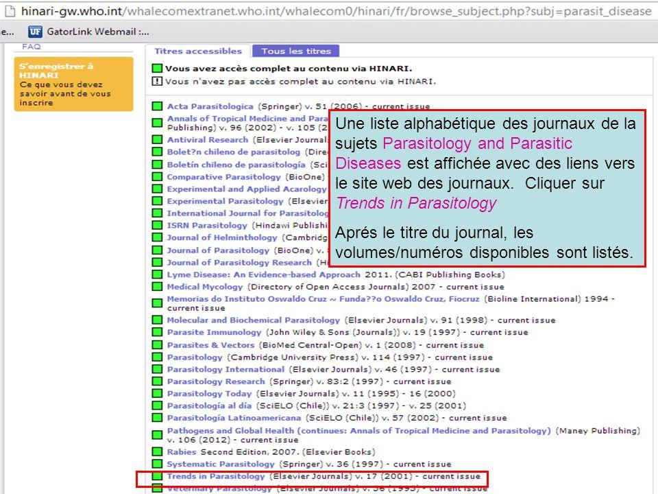 Une liste alphabétique des journaux de la sujets Parasitology and Parasitic Diseases est affichée avec des liens vers le site web des journaux. Clique