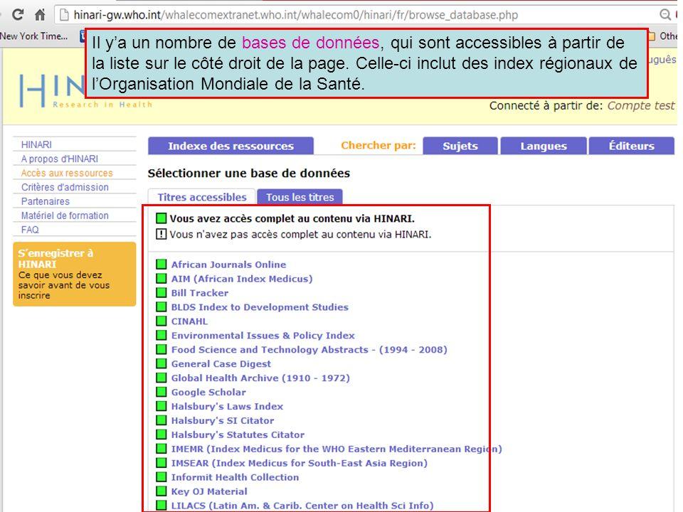 Il ya un nombre de bases de données, qui sont accessibles à partir de la liste sur le côté droit de la page. Celle-ci inclut des index régionaux de lO