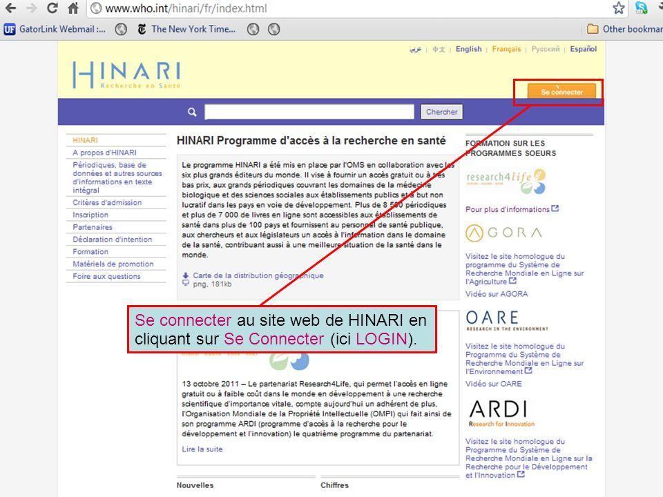 Se connecter au site web de HINARI en cliquant sur Se Connecter (ici LOGIN). `