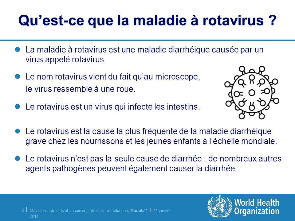 Maladie à rotavirus et vaccin antirotavirus : introduction, Module 1 | 11 janvier 2014 11 janvier 2014 5 |5 | Les trois principaux symptômes de linfection à rotavirus sont : –Fièvre –Vomissements –Diarrhée liquide Des douleurs abdominales peuvent survenir.