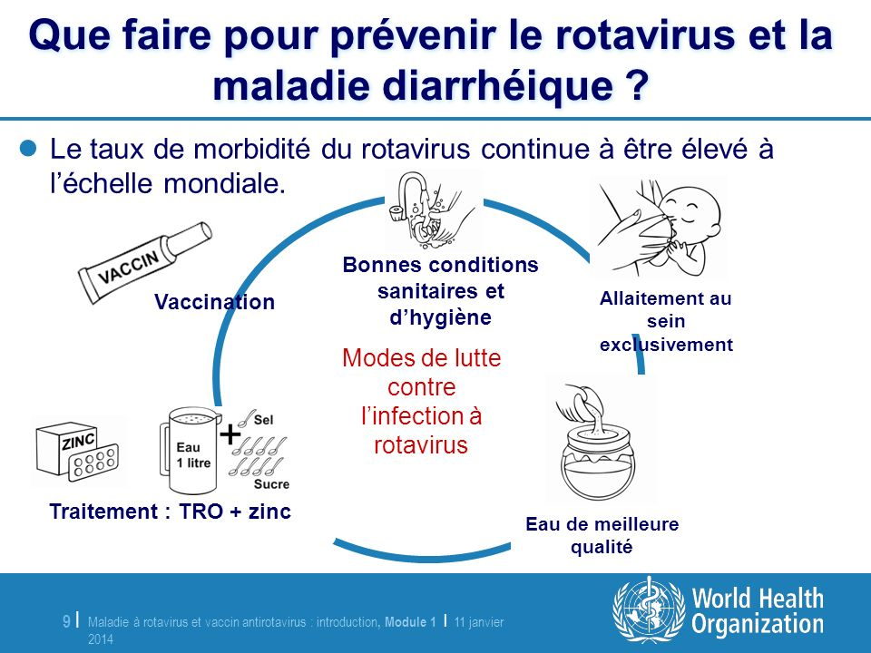 Maladie à rotavirus et vaccin antirotavirus : introduction, Module 1 | 11 janvier 2014 11 janvier 2014 10 | Que faire pour traiter la maladie à rotavirus et diarrhéique .