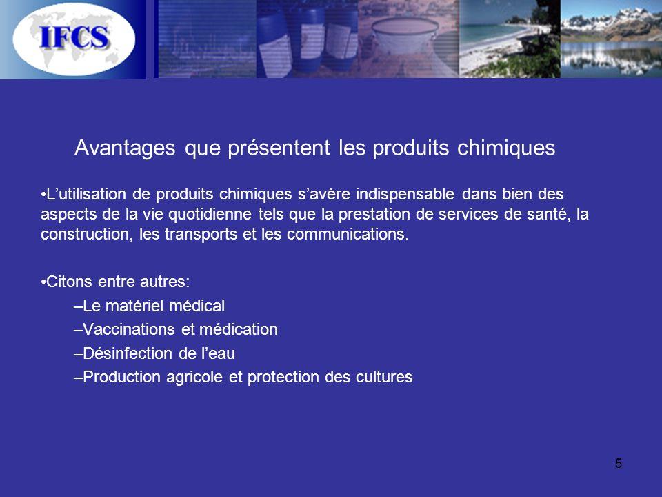 5 Avantages que présentent les produits chimiques Lutilisation de produits chimiques savère indispensable dans bien des aspects de la vie quotidienne tels que la prestation de services de santé, la construction, les transports et les communications.