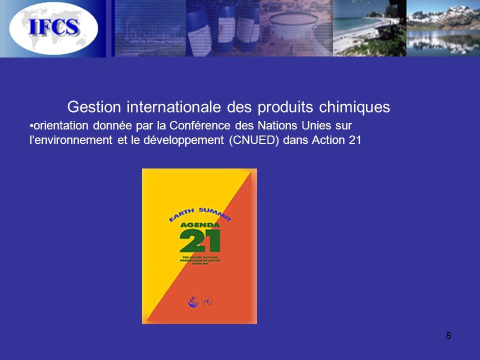 8 Gestion internationale des produits chimiques orientation donnée par la Conférence des Nations Unies sur lenvironnement et le développement (CNUED) dans Action 21