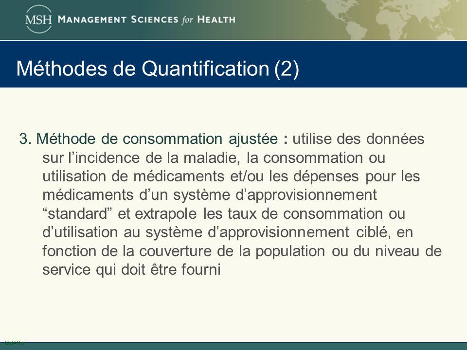 Méthodes de Quantification (2) 3. Méthode de consommation ajustée : utilise des données sur lincidence de la maladie, la consommation ou utilisation d