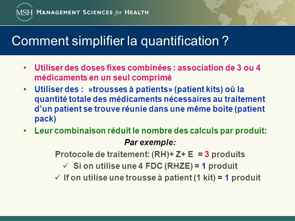 Comment simplifier la quantification ? Utiliser des doses fixes combinées : association de 3 ou 4 médicaments en un seul comprimé Utiliser des : »trou
