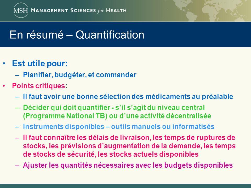 En résumé – Quantification Est utile pour: –Planifier, budgéter, et commander Points critiques: –Il faut avoir une bonne sélection des médicaments au