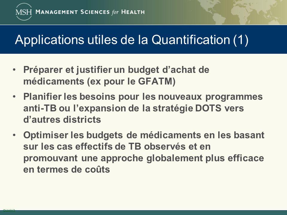 Préparer et justifier un budget dachat de médicaments (ex pour le GFATM) Planifier les besoins pour les nouveaux programmes anti-TB ou lexpansion de l