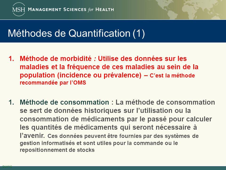 Méthodes de Quantification (1) 1.Méthode de morbidité : Utilise des données sur les maladies et la fréquence de ces maladies au sein de la population