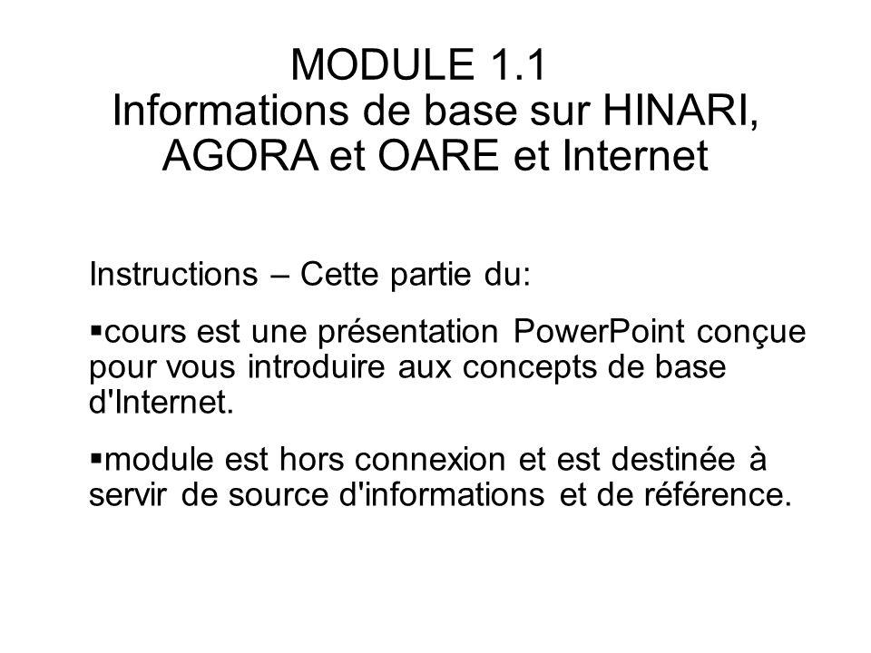Table des matières Contexte – HINARI, AGORA, OARE, aRDi Concepts Internet de base Structure de l Internet Protocoles courants de l Internet Configuration technique requise pour HINARI