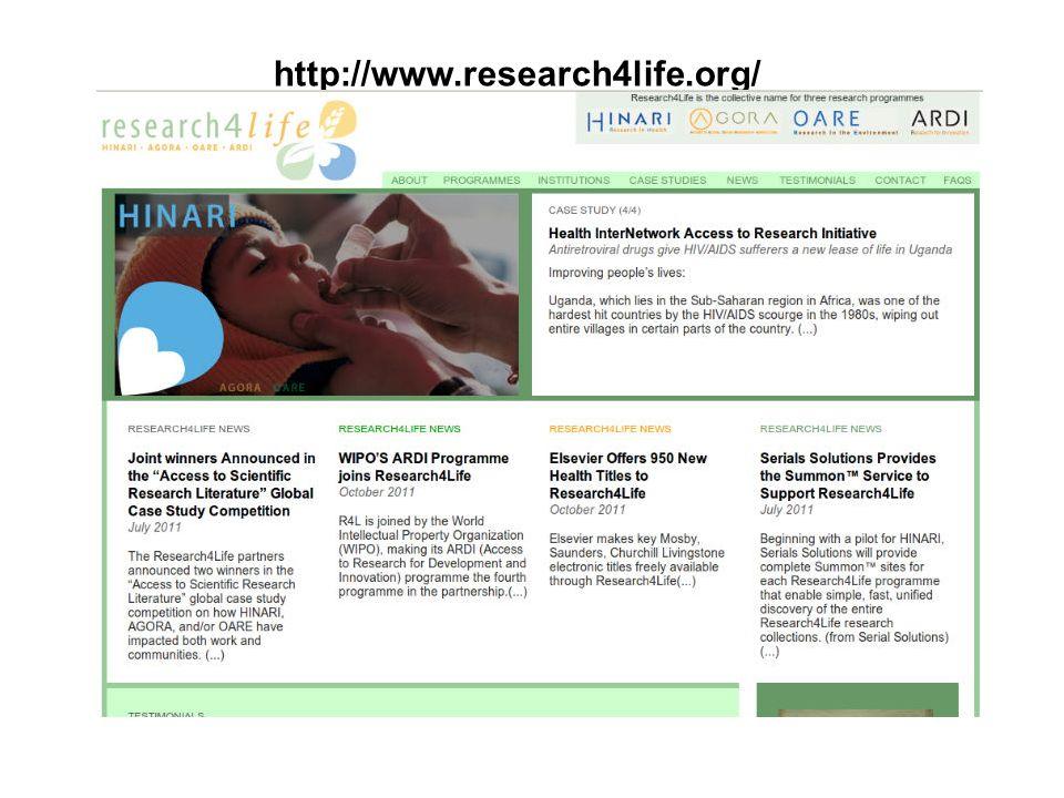 Objectifs de Research4Life (Recherche pour la vie/R4L) Mettre les chercheurs du monde en développement en contact avec la communauté scientifique internationale Réduire le fossé de publication et améliorer la qualité des revues et articles produits localement En définitive – améliorer la santé, la sécurité alimentaire et lenvironnement en relation avec les Objectifs de Développement du Millénaire pour 2015