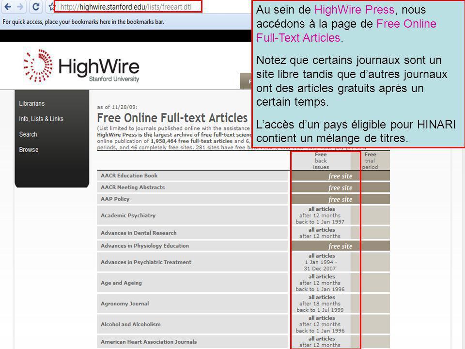HighWire Press 4 Au sein de HighWire Press, nous accédons à la page de Free Online Full-Text Articles.