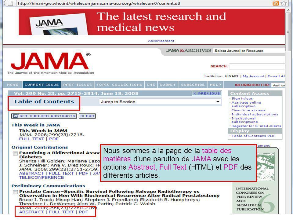 Nous sommes à la page de la table des matières dune parution de JAMA avec les options Abstract, Full Text (HTML) et PDF des différents articles.