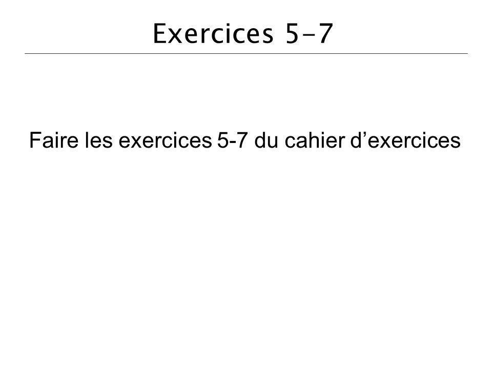 Exercices 5-7 Faire les exercices 5-7 du cahier dexercices