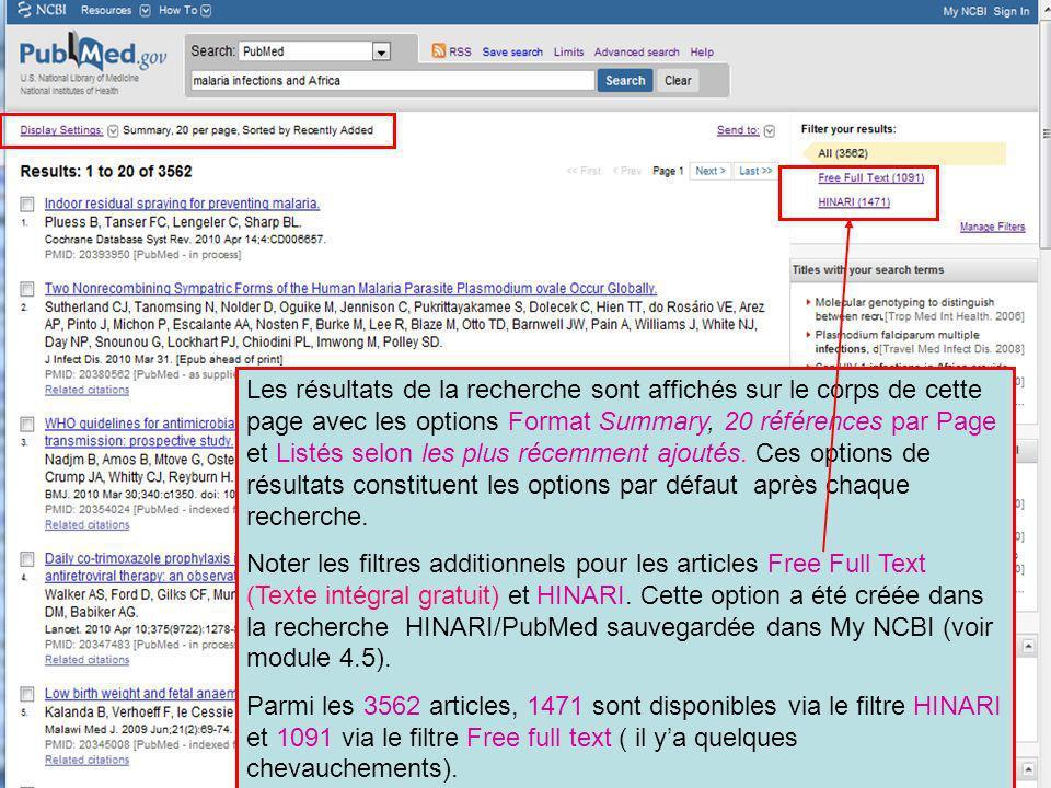 Les résultats de la recherche sont affichés sur le corps de cette page avec les options Format Summary, 20 références par Page et Listés selon les plu