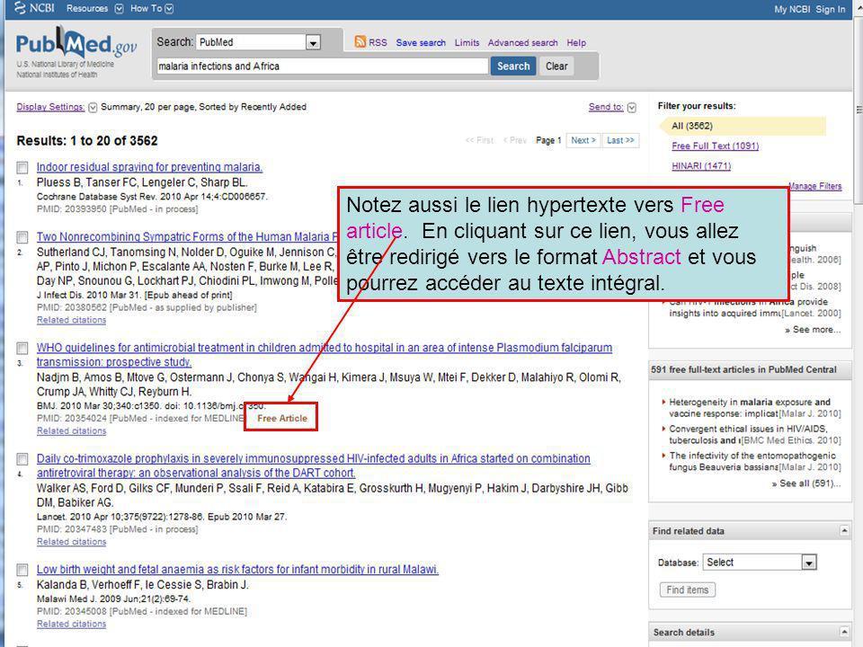 Notez aussi le lien hypertexte vers Free article. En cliquant sur ce lien, vous allez être redirigé vers le format Abstract et vous pourrez accéder au