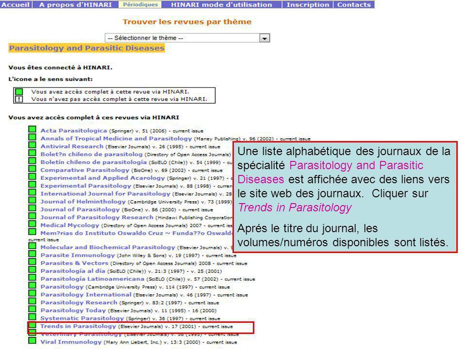 Une liste alphabétique des journaux de la spécialité Parasitology and Parasitic Diseases est affichée avec des liens vers le site web des journaux. Cl