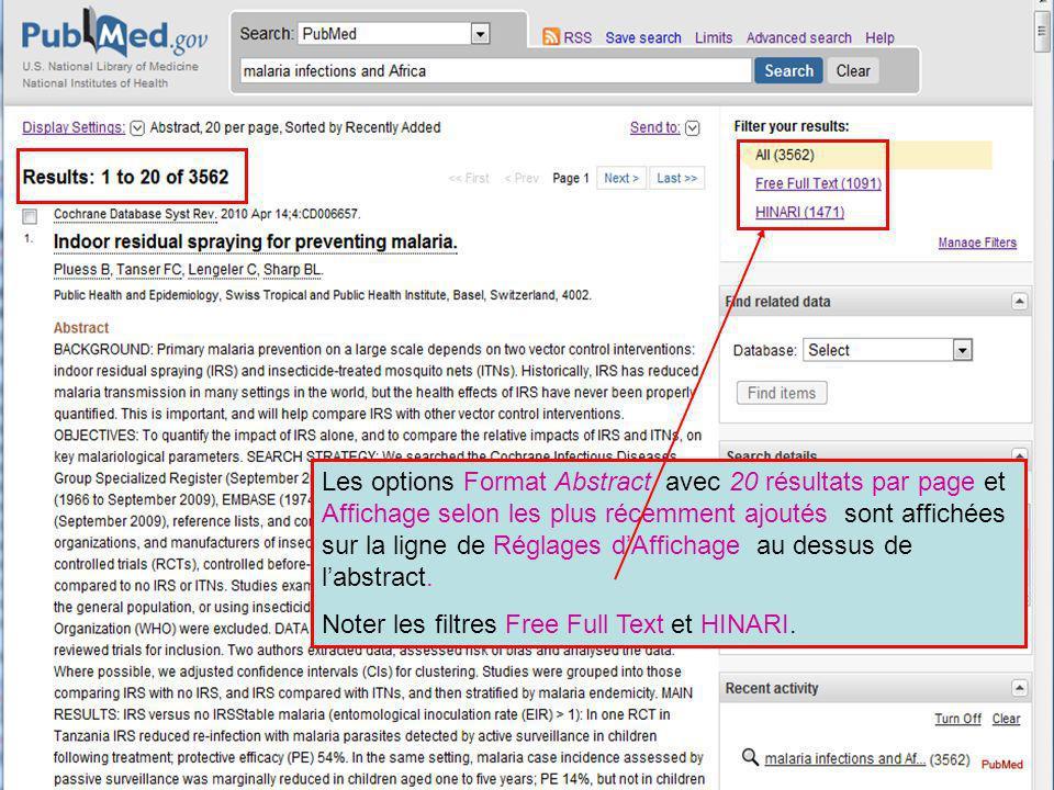 Les options Format Abstract avec 20 résultats par page et Affichage selon les plus récemment ajoutés sont affichées sur la ligne de Réglages dAffichag