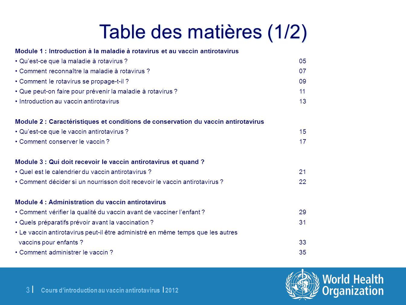 Cours dintroduction au vaccin antirotavirus | 2012 34 | À lattention de lanimateur : Demandez aux participants de répondre à la question ci-dessus, puis donnez-leur les informations suivantes et indiquez-leur les messages clés.