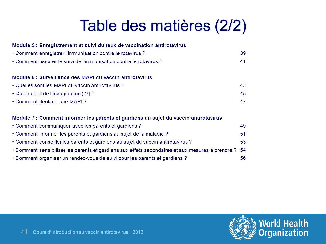 Cours dintroduction au vaccin antirotavirus | 2012 55 | À lattention de lanimateur : Demandez aux participants de répondre à la question ci-dessus, puis donnez-leur les informations suivantes et indiquez-leur les messages clés.
