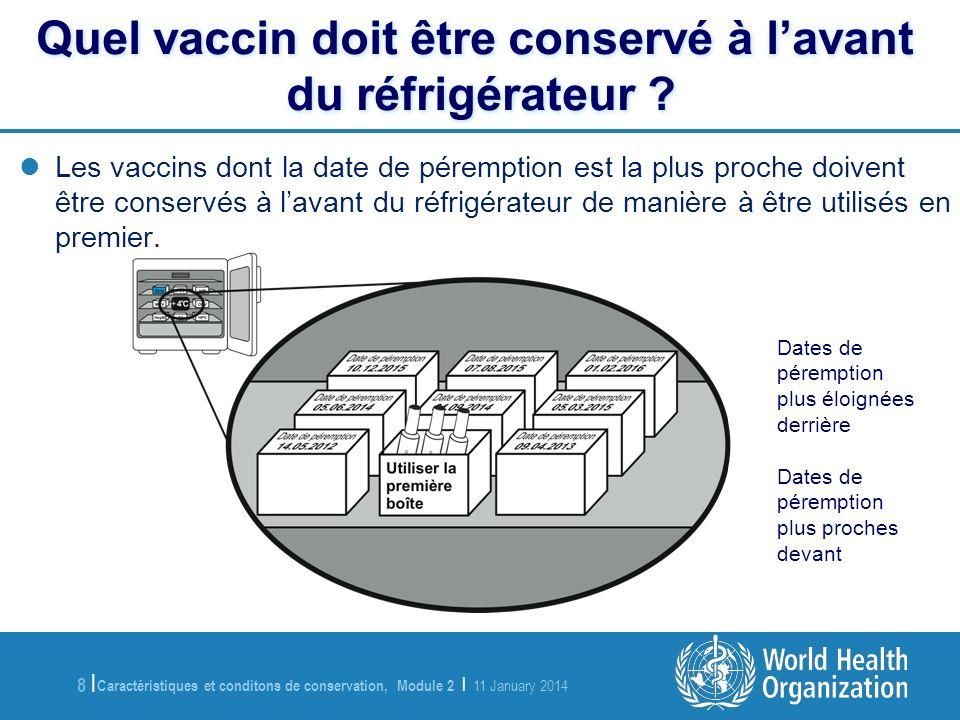 Caractéristiques et conditons de conservation, Module 2 | 11 January 2014 9 |9 | Manipulation du RotaTeq TM sans PCV En labsence dune PCV, il est impossible de savoir –Si les vaccins ont été exposés à des températures élevées (de plus de 8 o C) –Si oui, pendant combien de temps –Si oui, combien de fois Il est extrêmement important que les conditions de la chaîne du froid soient strictement respectées et contrôlées entre la réception du vaccin et son administration.