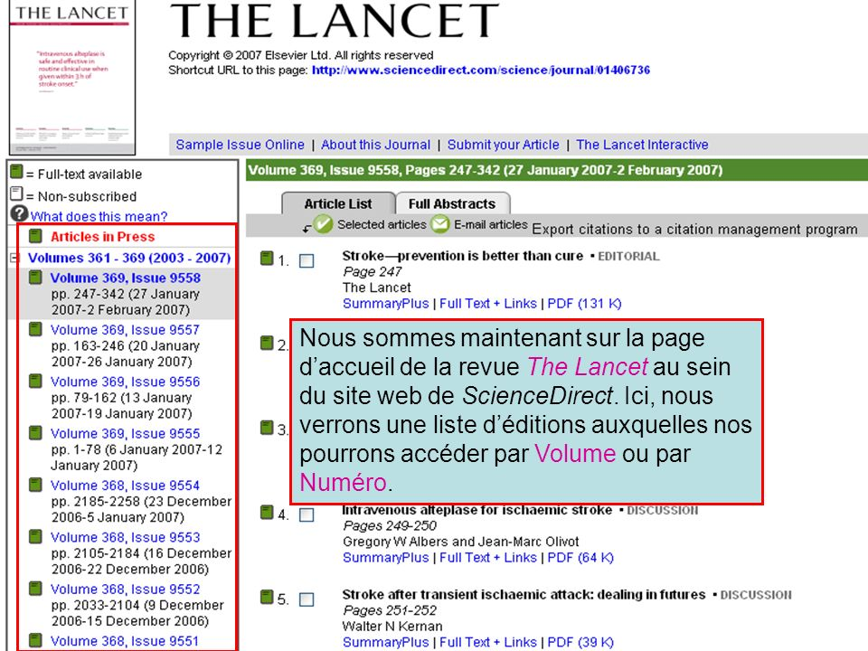 ScienceDirect 6 Nous sommes maintenant sur la page daccueil de la revue The Lancet au sein du site web de ScienceDirect.