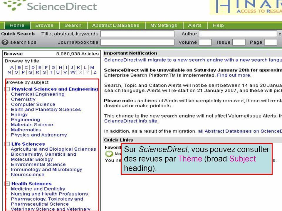 ScienceDirect 10 Sur ScienceDirect, vous pouvez consulter des revues par Thème (broad Subject heading).