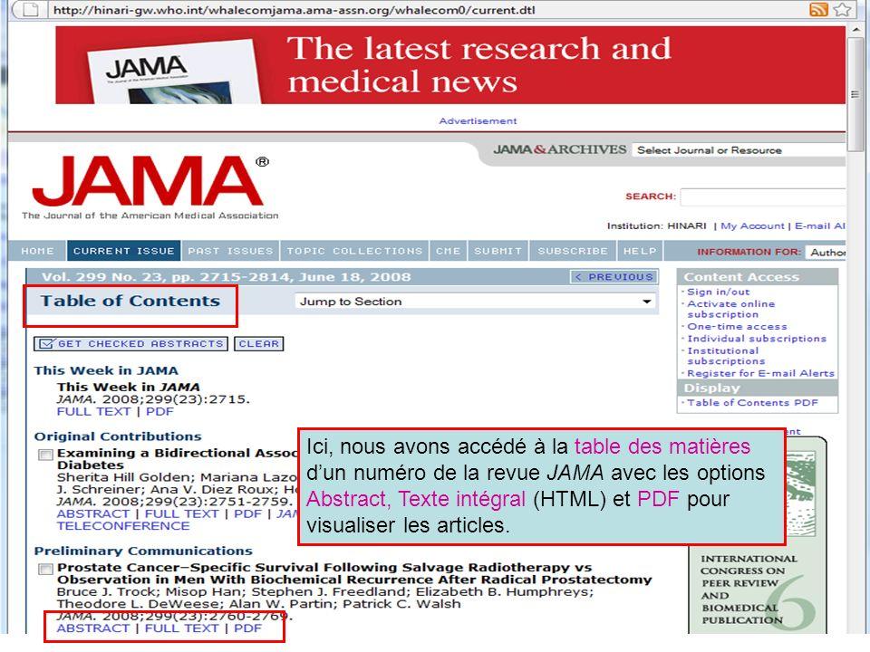 Ici, nous avons accédé à la table des matières dun numéro de la revue JAMA avec les options Abstract, Texte intégral (HTML) et PDF pour visualiser les articles.